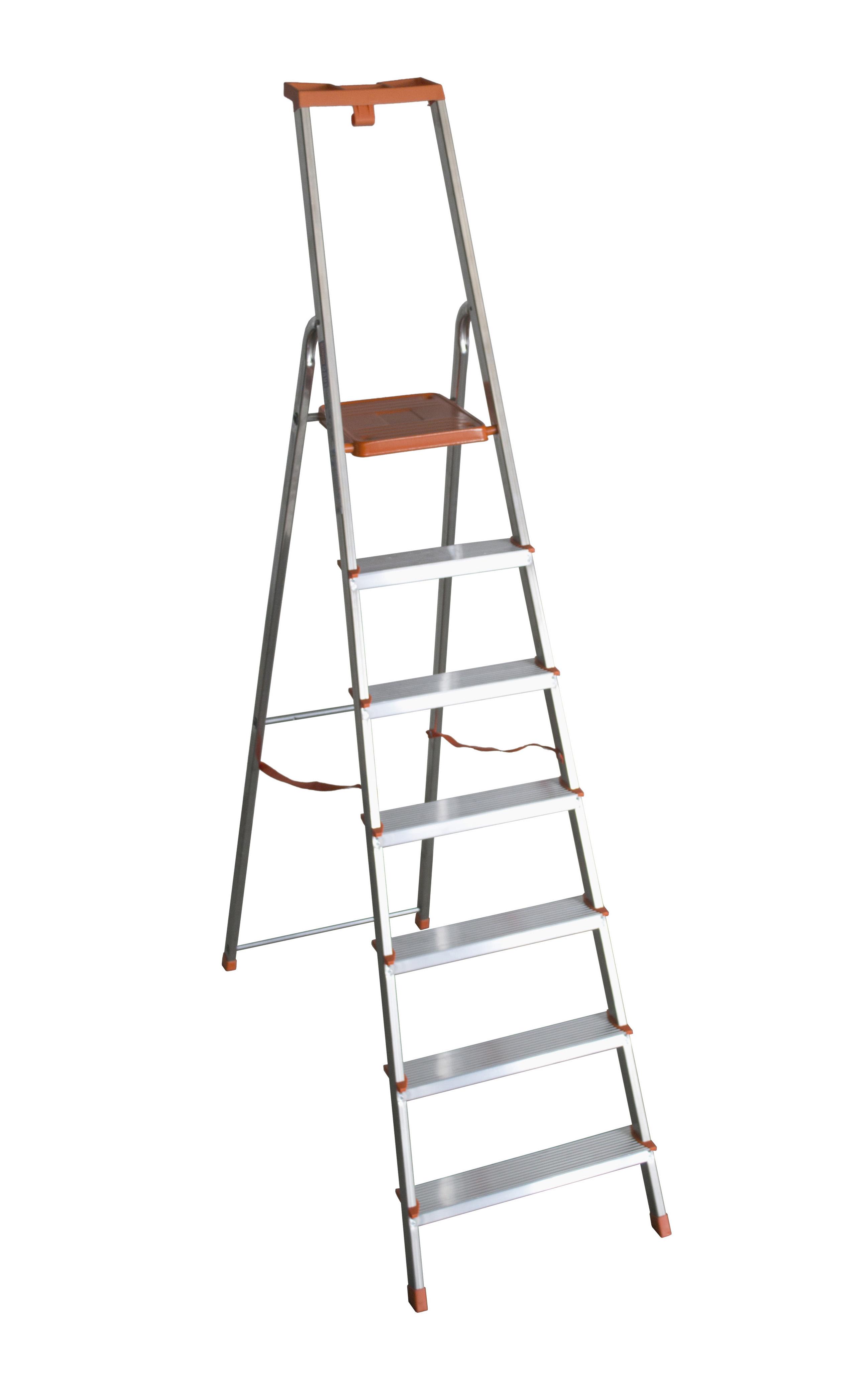 Altezza Gradini Scala scala in alluminio 7 gradini domestica facal eurodomus plus con portaoggeti