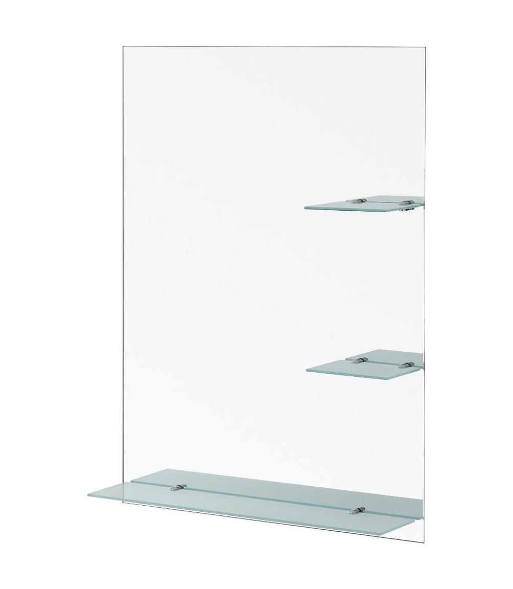 Specchio Bagno Brico.Specchio Con Mensole Satinate 60 X 80 Cm