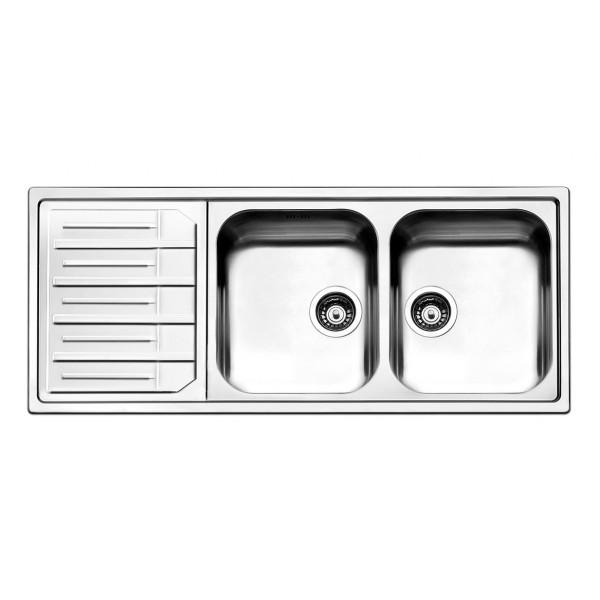 Lavello Cucina 2 Vasche Con Gocciolatoio Sinistro In Acciaio Inox Apell Melodia 116x50 Cm Bricocasa