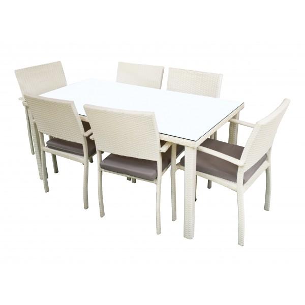 Tavolo In Rattan Bianco.Set Arredo Giardino Jepara Tavolo Alto Sei Sedie Bianco Bricocasa
