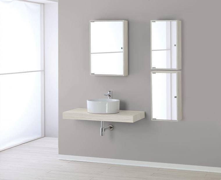 Specchio Bagno 60 X 60.Specchiera Contenitore 60 X 70 X 16 Pino Bianco Bricocasa